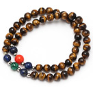 nice round tiger eye lapis peacock and red coral beaded elastic bracelet