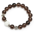 pretty natural round smoky quartz and white sea shell stretch bracelet