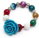 fashion multi color faceted round agate and white sea shell and blue resin flower beads bracelet under $ 40