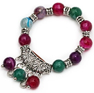 fashion 12mm facted multi color agate and tibet silver tube lucky bag charm bracelet