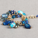 Ethnic Style Pretty Blue Series Blue Crystal Colored Glaze Agate Beads Charm Adjustable Bracelet With Golden Chain