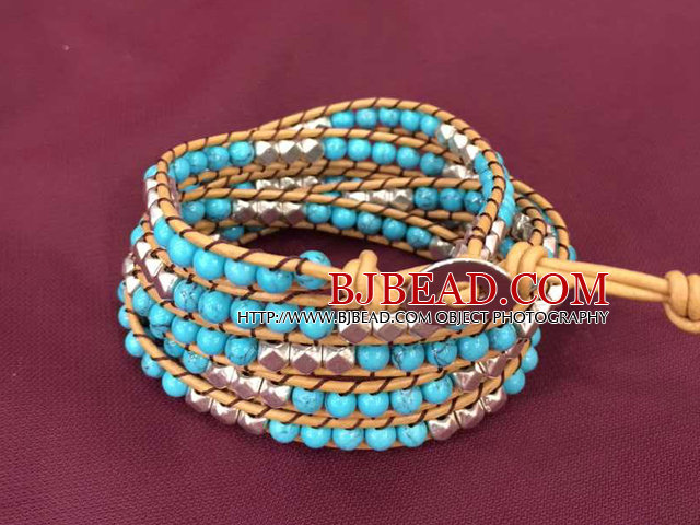 Fashion Popular Multi Strands Turquoise & Alloyed Beads Wrap Bangle Bracelet
