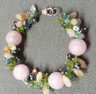 Hot Sale Popular Round Pink Jade Beads Cluster Black Pearl Crystal Olivine Stone Chipes Bracelet