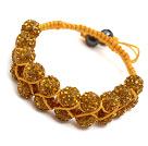 fashion layer style 10mm yellow rhinestone woven adjustable yellow drawstring bracelet