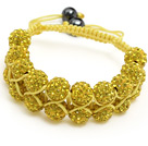 fashion layer style 10mm golden rhinestone woven adjustable yellow drawstring bracelet