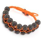moda estilo de camada 10 milímetros cinza de strass wowen pulseira cordão laranja ajustável