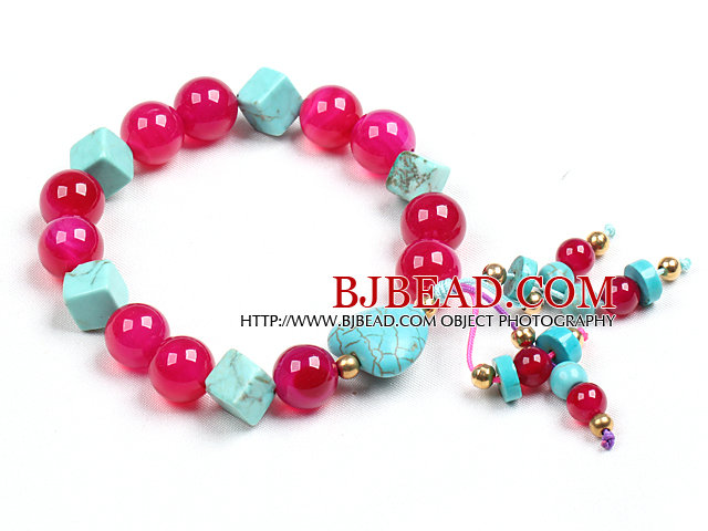 Simple Style Single Strand Cube And Heart Shape Blue Turquoise Rose Red Agate Beads Stretch / Elastic Bracelet