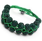 nice layer style 10mm dark green rhinestone woven adjustable green drawstring bracelet