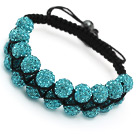 fashion layer 10mm sky blue rhinestone woven adjustable black drawstring bracelet