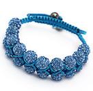 pretty layer style 10mm blue rhinestone woven adjustable blue drawstring bracelet