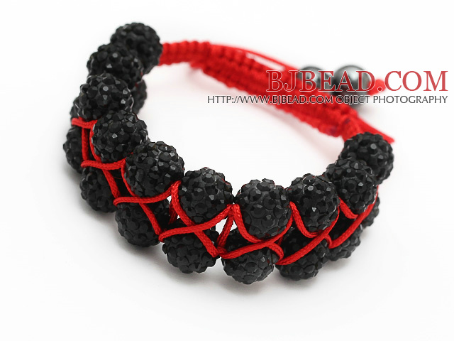 elegant layer style 10mm black rhinestone red woven adjustable drawstring bracelet