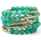 Fashion Multilayer Round Green Jade And Golden Tube Charm Beaded Bangle Bracelet