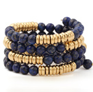Fashion Multilayer 8mm Round Lapis Stone And Golden Abacus Beads Charm Beaded Bracelet
