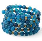 Fashion Multilayer 8mm Round Blue Agate And Golden Charm Beaded Bangle Bracelet under $ 40