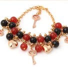 Classic A Grade Round Black Red Agate Golden Chain Bracelet With Golden Heart And Kay Accessories