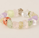 Beautiful Incidence Angle Prehnite White Crystal Amethyst And Rose Quatz Bangle Bracelet With Golden Ball under $ 40