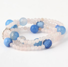Charming Multilayer Round Pink Jade And Faceted Blue Agate Beaded Stretch Bracelet