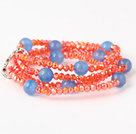 Fashion Multilayer Round Blue Agate And Manmade Orange Red Beaded Stretch Bracelet