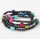 Fashion Multilayer Ronde Kleurrijke Jade En Kunstmatige Black Crystal kralen Stretch armband