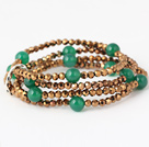 Nice Multilayer Round Green Agate And Manmade Golden Crystal Beaded Stretch Bracelet