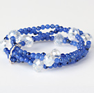 Fashion Multilayer Round Blue Jade And Manmade White Crystal Beaded Stretch Bracelet