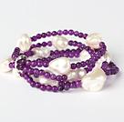 Elegant Multilayer Round Purple Jade And Irregular Seashell Beads Stretch Bracelet