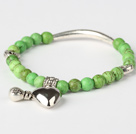Nice Round Apple Green Turquoise And Tibet Silver Tube Heart Charm Beads Bracelet under $ 40