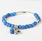 Nice Round Blue Turquoise And Tibet Silver Tube Heart Charm Beads Bracelet under $ 40