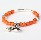 Round Orange Turquoise And Tibet Silver Tube Heart Charm Beads Bracelet under $ 40