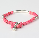 Nice Round Pink Turquoise And Tibet Silver Tube Heart Charm Beads Bracelet