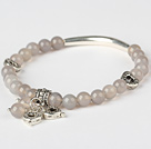 Simple Style Round Gray Agate And Tibet Silver Tube Heart Charm Beaded Bracelet under $ 40