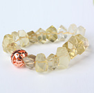 Nice Natural Incidence Angle Lemon Quartz Bangle Bracelet With Golden Ball under $ 40