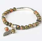 Fashion Round Green Piebald Stone and Tibet Silver Tube Heart Leaf Charm Beaded Bracelet