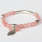 Fashion Round Cherry Quartz and Tibet Silver Tube Heart Leaf Charm Beaded Bracelet