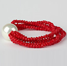 Nice Multilayer Faceted Red Jade Crystal And Round White Seashell Beaded Stretch Bracelet