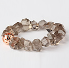 Beautiful Natural Incidence Angle Smoky Quartz Bangle Bracelet With Golden Ball
