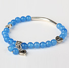 Beautiful Round Sky Blue Jade and Tibet Silver Tube Heart Charm Beads Bracelet
