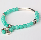 Beautiful Round Green Jade and Tibet Silver Tube Heart Charm Beads Bracelet