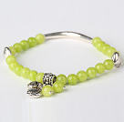 Nice Round Yellow Olive Jade and Tibet Silver Tube Heart Charm Beaded Bracelet