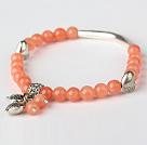 Leuk om de Oranje Rode Jade en Tibet Zilver Tube Hart Bedel Kralen Armband