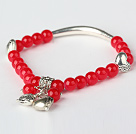 Pretty Round Red Jade and Tibet Silver Tube Heart Charm Beaded Bracelet