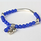 Fashion Round Deep Blue Cats Eye and Tibet Silver Tube Heart Charm Beaded Bracelet