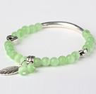 Fashion Round Apple Green Cats Eye and Tibet Silver Tube Heart Leaf Charm Beaded Bracelet
