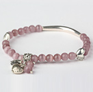 Nice Round Light Purple Cats Eye and Tibet Silver Tube Heart Charm Beaded Bracelet