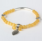 Beautiful Round Yellow Cats Eye and Tibet Silver Tube Heart Leaf Charm Beaded Bracelet