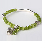 Nice Round Olive Green Cats Eye and Tibet Silver Tube Heart Charm Beaded Bracelet
