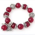 Nice 14mm Round Rose Agate Beaded Bracelet With Tibet Silver Rabbit Ball Cap Charm Accessories