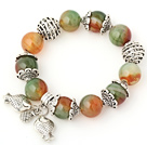 Nice Big Round Peacock Agate Beaded Bracelet With Tibet Silver Fish Ball Cap Charm Accessories