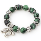 Nice Round Red-Green Zoisite Beaded Bracelet With Tibet Silver Fish Ball Cap Charm Accessories