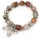 Pretty Round Colorful Quartz Beaded Bracelet With Tibet Silver Fish Ball Cap Charm Accessories